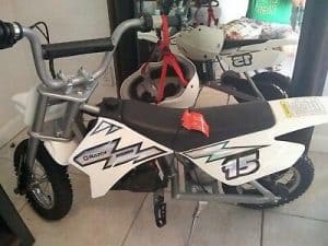 white electric dirtbike for kids