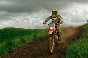 off road riding on a motorbike